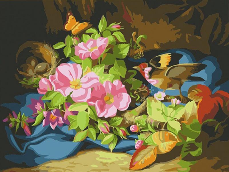 Картина по номерам «Щегол возле гнезда, лесные ягоды и цветы» Йозефа ЛауэраРаскраски по номерам Color Kit<br><br><br>Артикул: CE240<br>Основа: Холст<br>Сложность: средние<br>Размер: 30x40 см<br>Количество цветов: 24<br>Техника рисования: Без смешивания красок