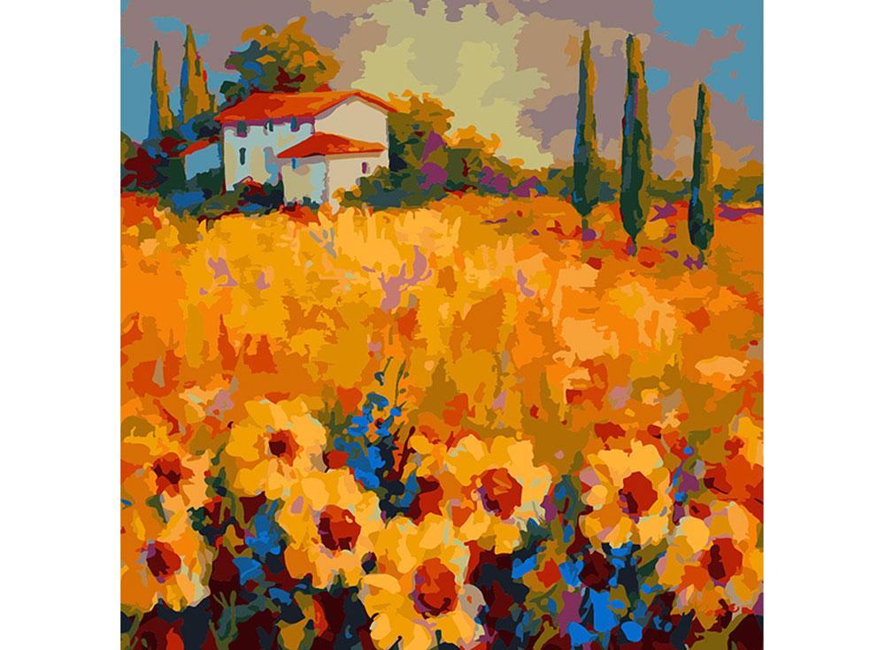 «Тосканские подсолнухи» Марион РоузРаскраски по номерам Color Kit<br><br><br>Артикул: CF032<br>Основа: Холст<br>Сложность: средние<br>Размер: 40x40 см<br>Количество цветов: 25<br>Техника рисования: Без смешивания красок