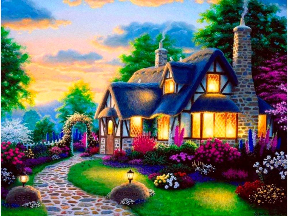 Алмазная вышивка «Волшебный домик»Яркие Грани<br><br><br>Артикул: DS060<br>Основа: Холст без подрамника<br>Сложность: средние<br>Размер: 50x38 см<br>Выкладка: Полная<br>Количество цветов: 60<br>Тип страз: Квадратные