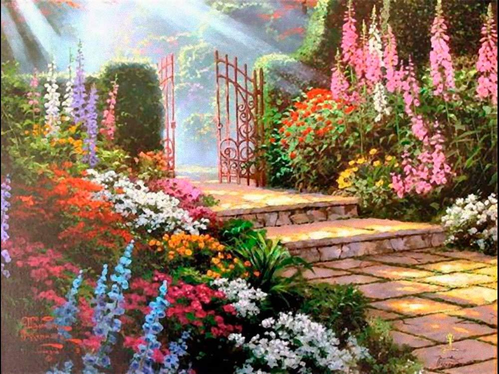 Алмазная вышивка «Дорожка в сад» Томаса КинкейдаЯркие Грани<br><br><br>Артикул: DS119<br>Основа: Холст без подрамника<br>Сложность: средние<br>Размер: 50x38 см<br>Выкладка: Полная<br>Количество цветов: 59<br>Тип страз: Квадратные