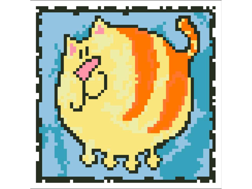 Стразы «Толстый полосатый кот»Яркие Грани<br><br><br>Артикул: DS209<br>Основа: Холст без подрамника<br>Сложность: средние<br>Размер: 15x15 см<br>Выкладка: Полная<br>Количество цветов: 9<br>Тип страз: Квадратные