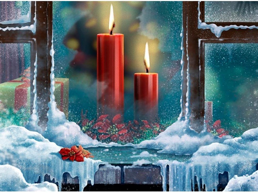 Стразы «Морозные свечи»Яркие Грани<br><br><br>Артикул: DS402<br>Основа: Холст без подрамника<br>Сложность: средние<br>Размер: 50x38 см<br>Выкладка: Полная<br>Количество цветов: 49<br>Тип страз: Квадратные