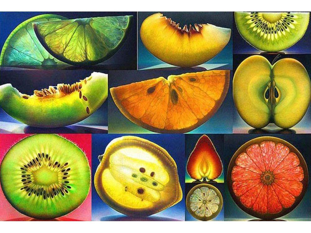 Алмазная вышивка «Алмазные фрукты»Алмазная вышивка Color Kit (Колор Кит)<br><br><br>Артикул: MO026<br>Основа: Холст без подрамника<br>Сложность: средние<br>Размер: 40x60 см<br>Выкладка: Полная<br>Количество цветов: 36<br>Тип страз: Круглые непрозрачные (акриловые)