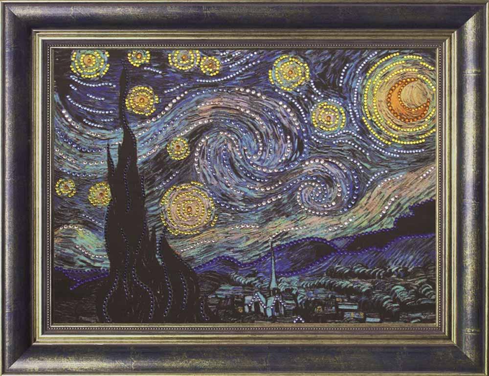 Термостразы «Звездная ночь» Ван ГогаПреобрана<br>Багетную рамку необходимо приобретать отдельно. Как и термоаппликатор, рамка не предусмотрена в комплекте.<br> Картины из страз от производителя Преобрана - яркие и красивые образы, необычный процесс выкладки камней и роскошный результат. Особенности компле...<br><br>Артикул: P0116<br>Основа: Холст без подрамника<br>Сложность: средние<br>Размер: 28x38 см<br>Выкладка: Частичная<br>Количество цветов: 8-15<br>Тип страз: Круглые прозрачные (стеклянные) термостразы