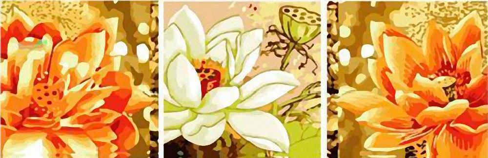Картина по номерам «Золотой цветок»Раскраски по номерам Color Kit<br><br><br>Артикул: P060<br>Основа: Холст<br>Сложность: сложные<br>Размер: 3 шт. 40x50 см<br>Количество цветов: 25<br>Техника рисования: Без смешивания красок