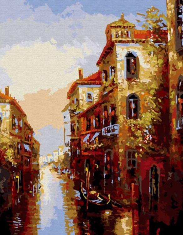 «Канал в Венеции»Картины по номерам Белоснежка<br><br><br>Артикул: 010-CG<br>Основа: Холст<br>Сложность: средние<br>Размер: 40x50 см<br>Количество цветов: 19<br>Техника рисования: Без смешивания красок