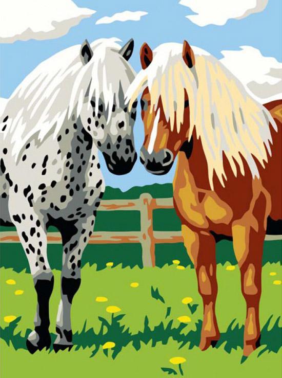«Лошадки»Картины по номерам Белоснежка<br><br><br>Артикул: 022-CE<br>Основа: Холст<br>Сложность: легкие<br>Размер: 30x40 см<br>Количество цветов: 14<br>Техника рисования: Без смешивания красок