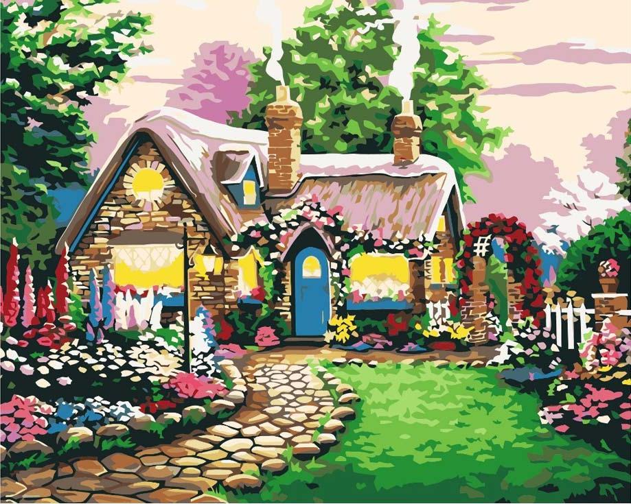 Картина по номерам «Сказочный домик» Ричарда БернсаКартины по номерам Белоснежка<br><br><br>Артикул: 047-CG<br>Основа: Холст<br>Сложность: средние<br>Размер: 40x50 см<br>Количество цветов: 24<br>Техника рисования: Без смешивания красок
