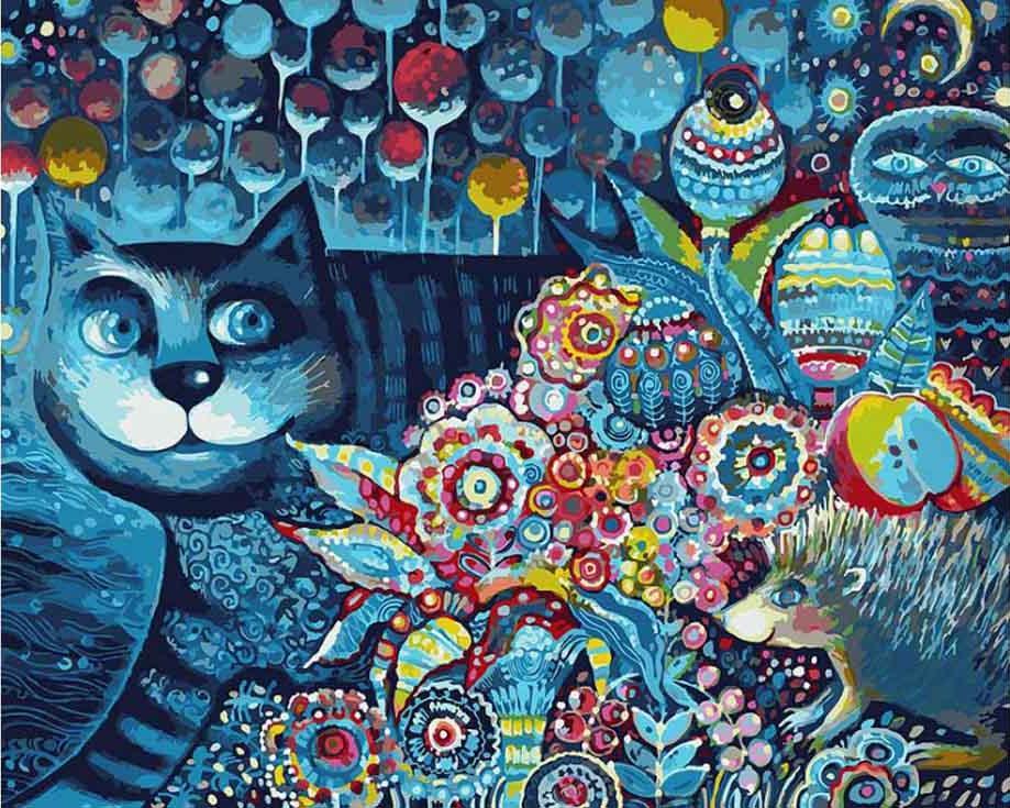 Картина по номерам «Индиго кот»Картины по номерам Белоснежка<br><br><br>Артикул: 083-AB<br>Основа: Холст<br>Сложность: очень сложные<br>Размер: 40x50 см<br>Количество цветов: 30<br>Техника рисования: Без смешивания красок
