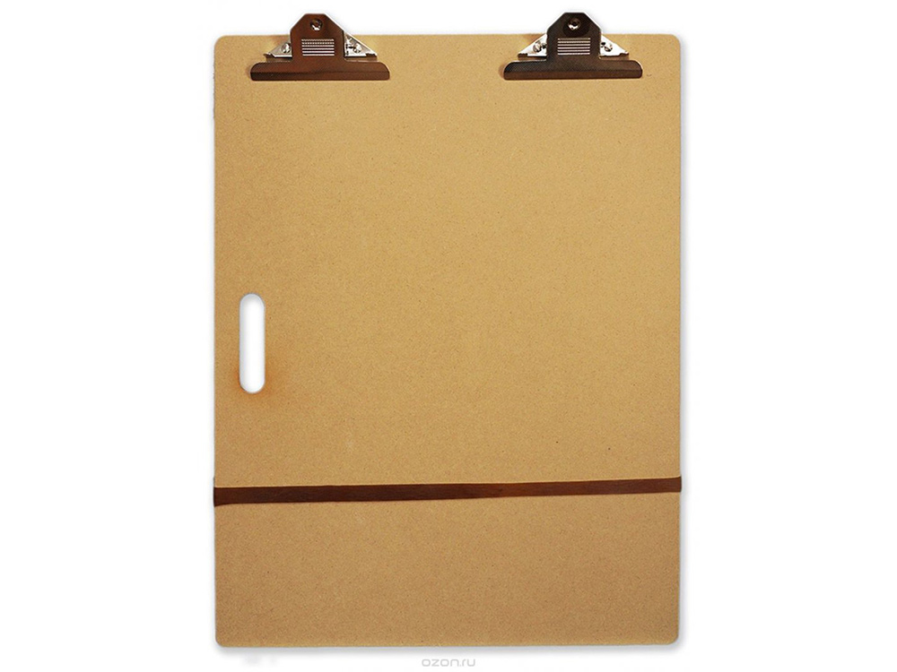 Планшет А2 с зажимом (клипборд)Мольберты<br>Планшет с зажимом формата А2 (клипборд) - удобен для рисования и дома, и на пленэре. Зажимы плотно фиксируют лист бумаги, не позволяя сдвигаться во время рисунка.<br>Чтобы планшет было удобно переносить, в нем предусмотрена специальная ручка-прорезь.<br>Подходи...<br><br>Артикул: 195102<br>Размер: 38x63 см<br>Габаритный размер: 38x63
