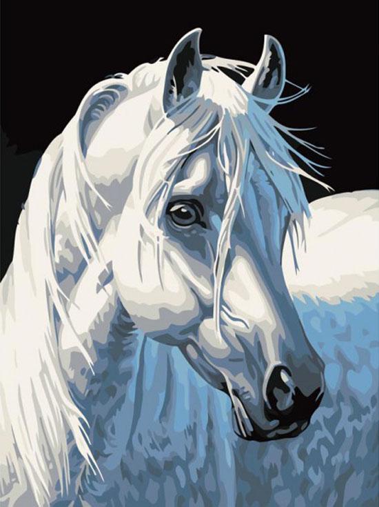 Картина по номерам «Белая лошадь»Картины по номерам Белоснежка<br><br><br>Артикул: 230-CE<br>Основа: Холст<br>Сложность: легкие<br>Размер: 30x40 см<br>Количество цветов: 14<br>Техника рисования: Без смешивания красок