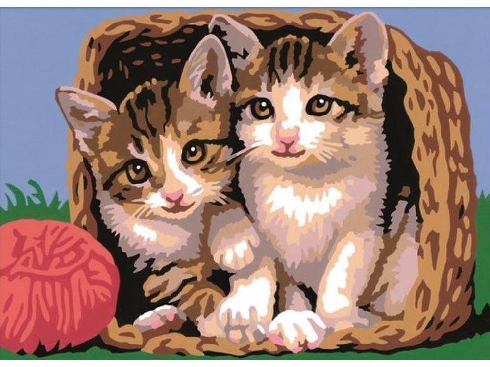 Картина по номерам «Котята в корзине»Раскраски по номерам Ravensburger<br><br><br>Артикул: 28178<br>Основа: Картон<br>Сложность: легкие<br>Размер: 18x24 см<br>Количество цветов: 15<br>Техника рисования: Без смешивания красок