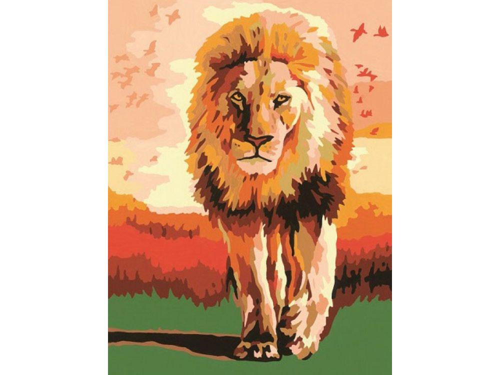 Картина по номерам «Гордый лев»Раскраски по номерам Ravensburger<br><br><br>Артикул: 28225<br>Основа: Картон<br>Сложность: легкие<br>Размер: 18x24 см<br>Количество цветов: 15<br>Техника рисования: Без смешивания красок