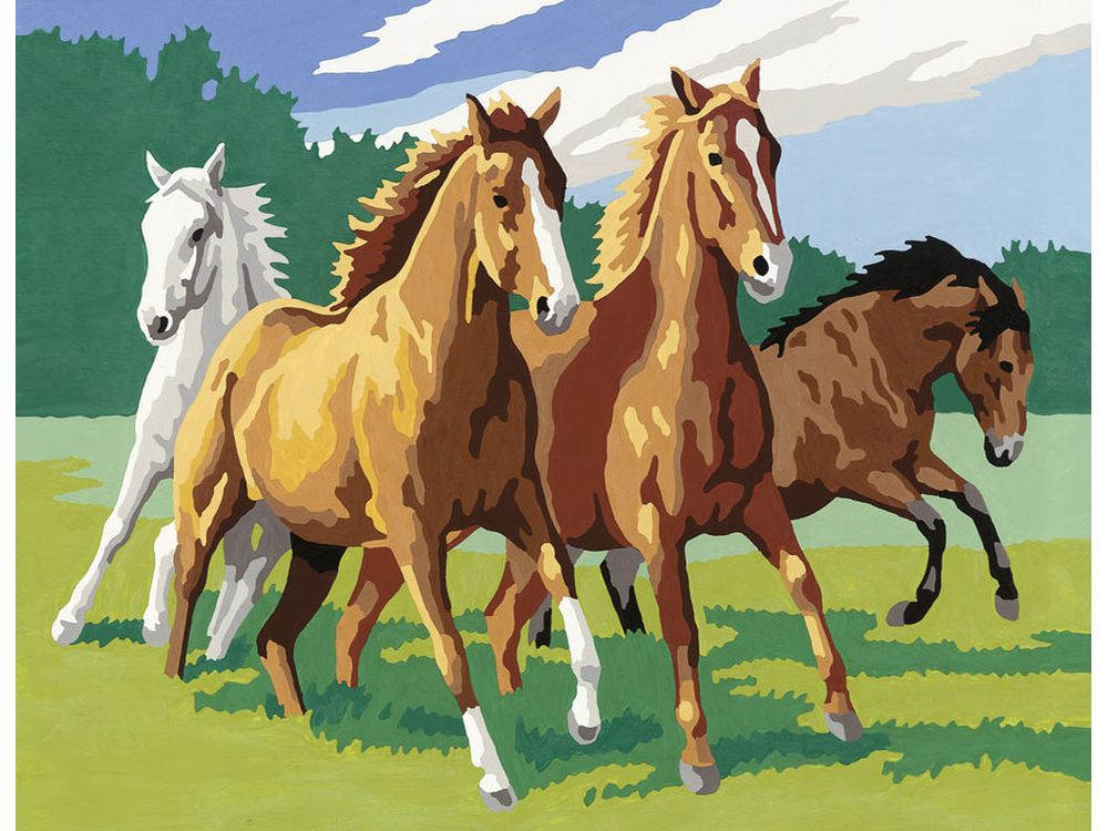 «Дикие лошади»Раскраски по номерам Ravensburger<br><br><br>Артикул: 28374<br>Основа: Картон<br>Сложность: средние<br>Размер: 24x30 см<br>Количество цветов: 18<br>Техника рисования: Без смешивания красок