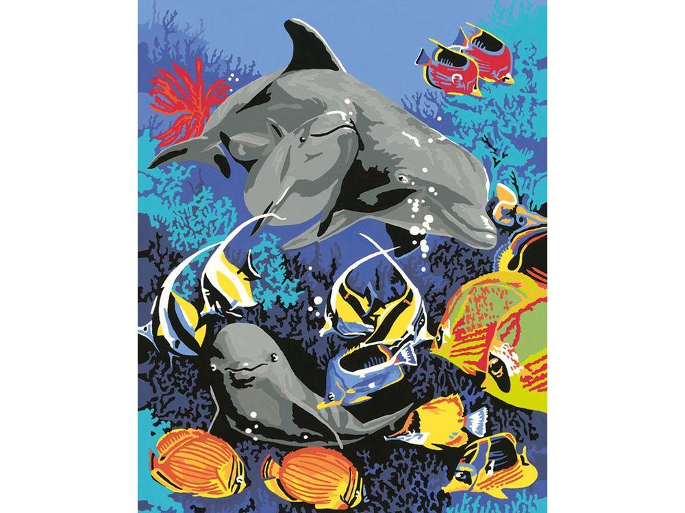 «Подводный мир»Раскраски по номерам Ravensburger<br><br><br>Артикул: 28409<br>Основа: Картон<br>Сложность: средние<br>Размер: 24x30 см<br>Количество цветов: 18<br>Техника рисования: Без смешивания красок