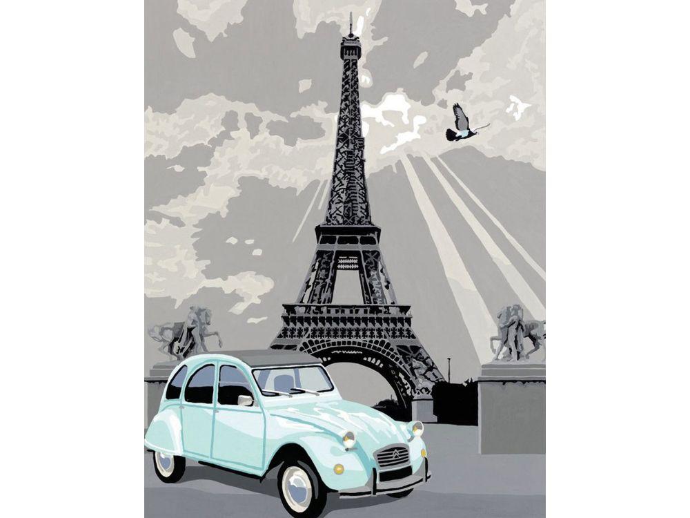 «Париж»Раскраски по номерам Ravensburger<br><br><br>Артикул: 28410<br>Основа: Картон<br>Сложность: средние<br>Размер: 24x30 см<br>Количество цветов: 20<br>Техника рисования: Без смешивания красок
