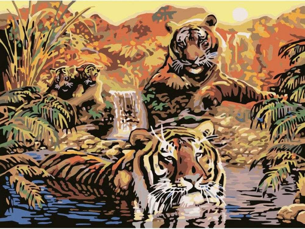Картина по номерам «Тигры»Раскраски по номерам Ravensburger<br><br><br>Артикул: 28805<br>Основа: Картон<br>Сложность: средние<br>Размер: 30x40 см<br>Количество цветов: 25<br>Техника рисования: Без смешивания красок