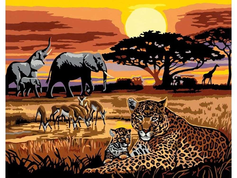 «Африка»Раскраски по номерам Ravensburger<br><br><br>Артикул: 28819<br>Основа: Картон<br>Сложность: средние<br>Размер: 30x40 см<br>Количество цветов: 25<br>Техника рисования: Без смешивания красок