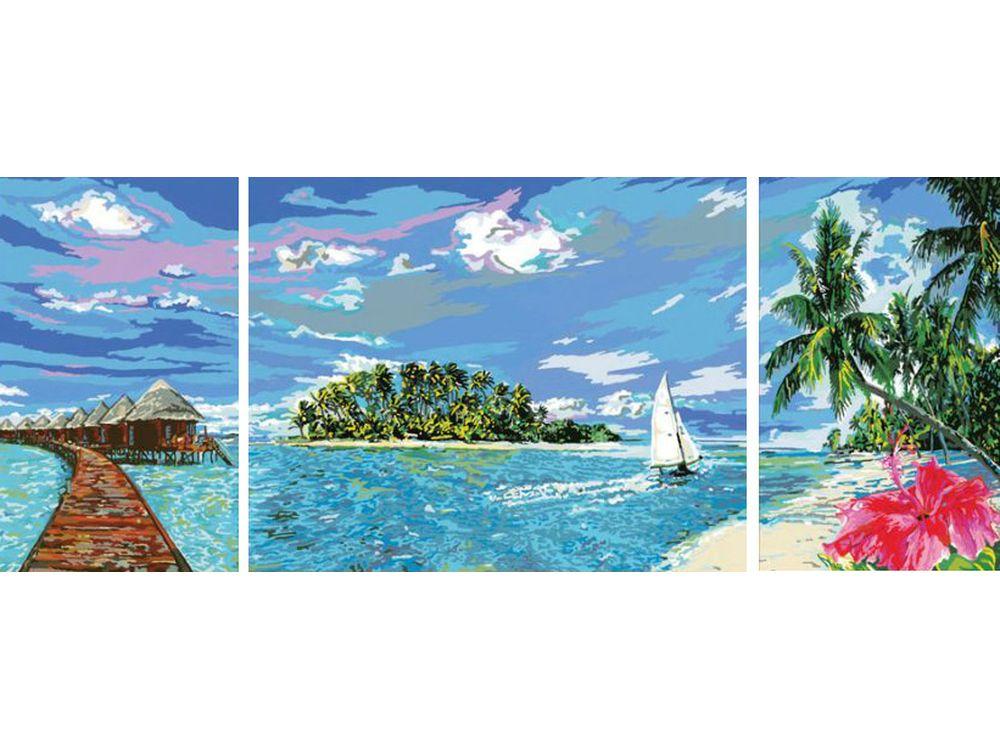 «Тропический остров»Раскраски по номерам Ravensburger<br><br><br>Артикул: 28952<br>Основа: Картон<br>Сложность: сложные<br>Размер: 2 шт. 25x40 см, 1 шт. 40х50 см<br>Количество цветов: 25<br>Техника рисования: Без смешивания красок