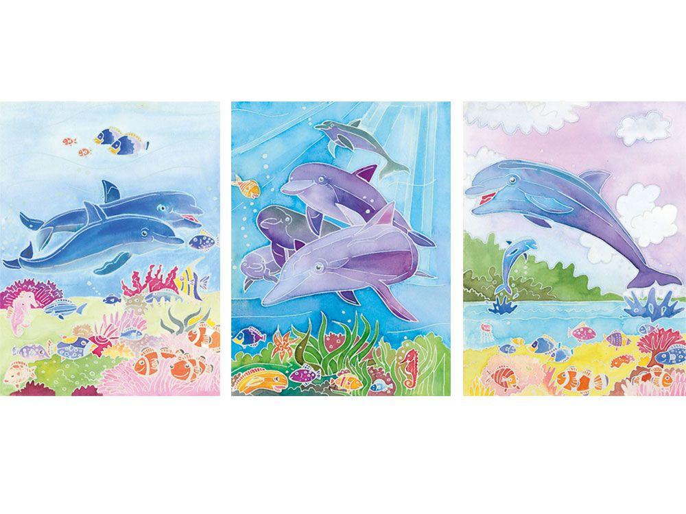 Картина акварелью по контурам «Дельфины»Картины по контурам Ravensburger<br>Акварель по контурам от немецкого производителя Ravensburger – отличное качество материалов и прекрасный результат. Воздушные акварельные композиции теперь может нарисовать каждый.<br> <br> Основа картины – качественный плотный картон. На основу нанесен конту...<br><br>Артикул: 29310<br>Основа: Картон<br>Сложность: средние<br>Размер: 54x72 см<br>Количество цветов: 5