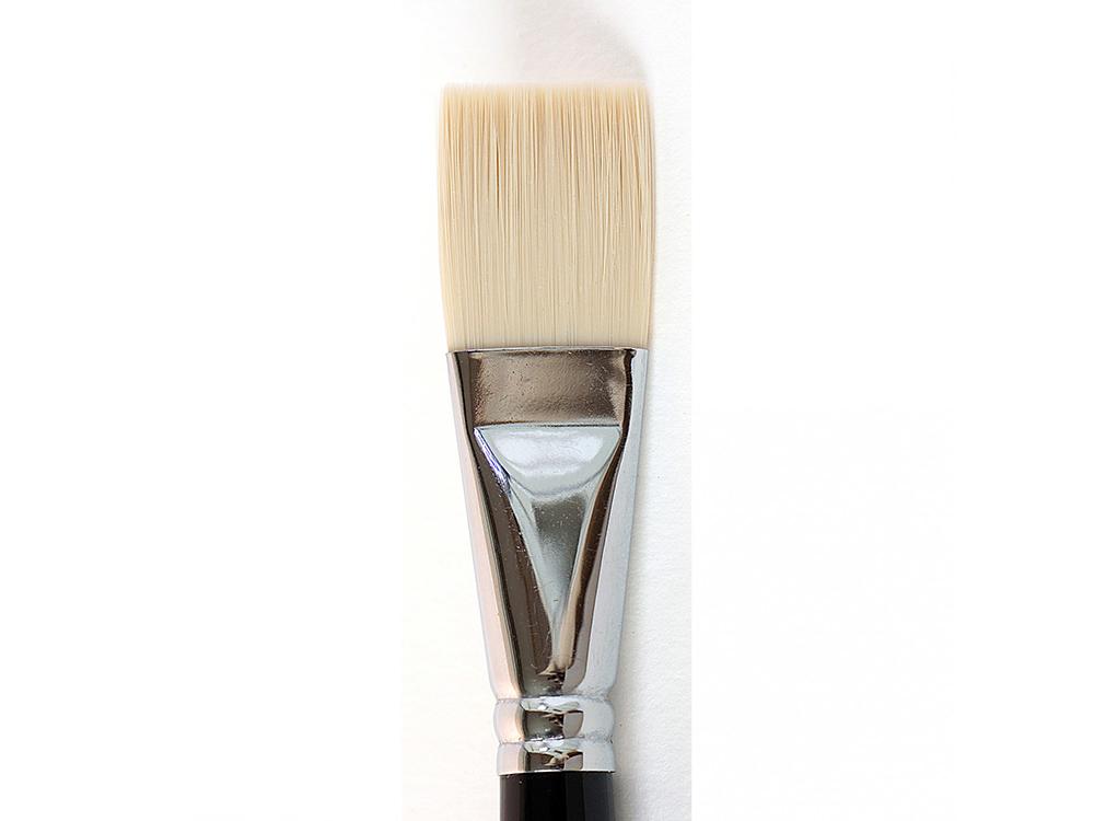 Кисть синтетическая «Зима» плоская №24Аксессуары для рисования картин по номерам<br>Кисть Малевичъ (серия «Зима») - имеет в меру жесткий и упругий волос, отлично подходит для ровного покрытия готовой картины лаком. Может быть использована для работы над картиной акриловыми или масляными красками.<br> <br> Длина ручки: 18 см <br> Обойма: цельно...<br><br>Артикул: 710024