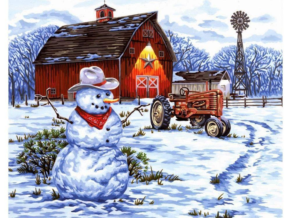 Картина по номерам «Снеговик за городом» Даррелла БушаЦветной (Standart)<br><br><br>Артикул: GX8474_Z<br>Основа: Холст<br>Сложность: сложные<br>Размер: 40x50 см<br>Количество цветов: 25<br>Техника рисования: Без смешивания красок