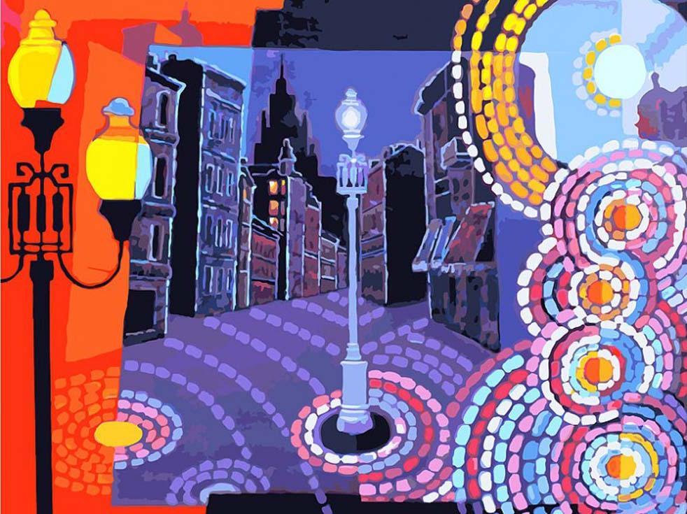 Картина по номерам «Вечерний Арбат» Александра МекнышаКартины по номерам Белоснежка<br><br><br>Артикул: 784-AS<br>Основа: Холст<br>Сложность: очень сложные<br>Размер: 30x40 см<br>Количество цветов: 35<br>Техника рисования: Без смешивания красок