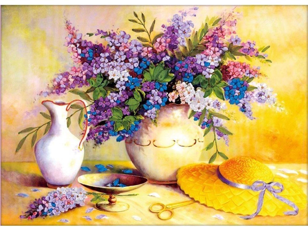 Вышивка лентами Цветной Картина лентами «Летний день» C-0014