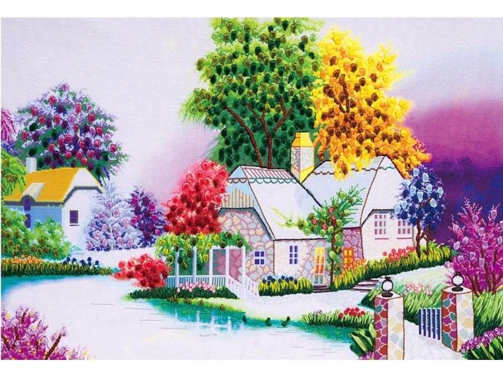 """Вышивка лентами «Бабушкин дом»Цветной<br>Уникальный набор вышивки лентами от производителя """"Цветной"""" - прекрасная возможность освоить новый вид творчества.<br><br>Вышивка лентами набирает популярность благодаря великолепному результату, объемные картины из атласных лент и органзы может вышить каждый, ...<br><br>Артикул: C-0038<br>Сложность: средние<br>Размер: 45x68 см<br>Техника вышивки: ленты<br>Заполнение: Частичное<br>Техника: Вышивка лентами"""