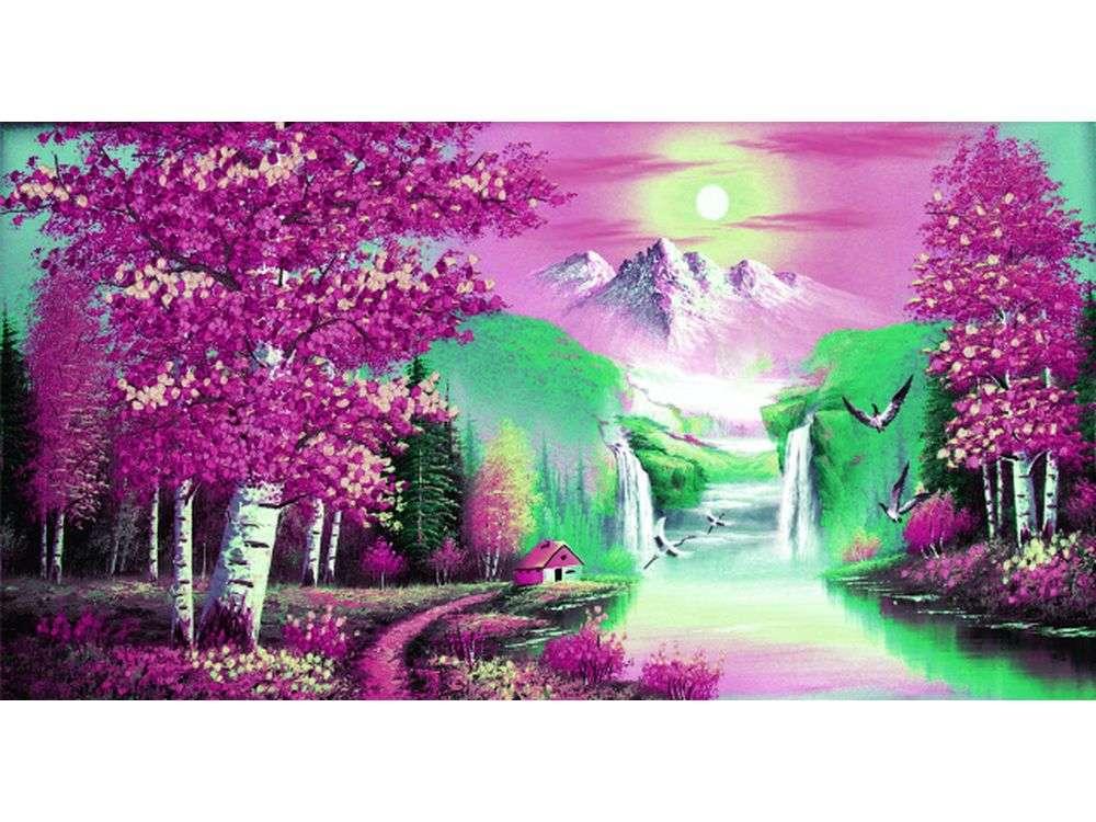 """Вышивка лентами «По дороге в небо»Цветной<br>Уникальный набор вышивки лентами от производителя """"Цветной"""" - прекрасная возможность освоить новый вид творчества.<br><br>Вышивка лентами набирает популярность благодаря великолепному результату, объемные картины из атласных лент и органзы может вышить каждый, ...<br><br>Артикул: C-0085<br>Сложность: средние<br>Размер: 75x130 см<br>Техника вышивки: ленты<br>Заполнение: Частичное<br>Техника: Вышивка лентами"""