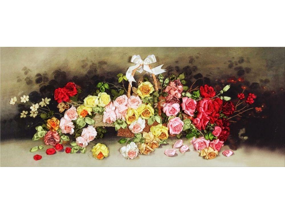 """Картина лентами «Корзина с розами»Цветной<br>Уникальный набор вышивки лентами от производителя """"Цветной"""" - прекрасная возможность освоить новый вид творчества.<br><br>Вышивка лентами набирает популярность благодаря великолепному результату, объемные картины из атласных лент и органзы может вышить каждый, ...<br><br>Артикул: C-0105<br>Сложность: средние<br>Размер: 60x125<br>Техника вышивки: ленты<br>Заполнение: Частичное<br>Техника: Вышивка лентами"""
