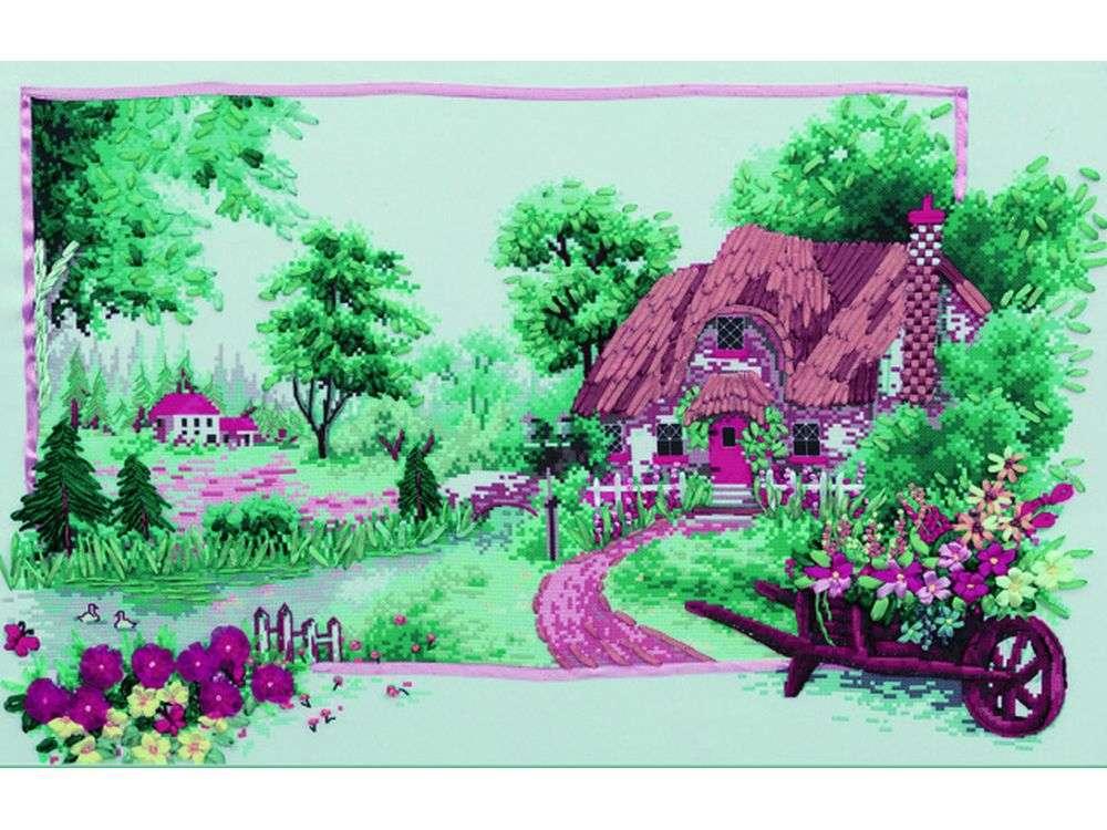 """Картина лентами «Чудный домик»Цветной<br>Уникальный набор вышивки лентами от производителя """"Цветной"""" - прекрасная возможность освоить новый вид творчества.<br><br>Вышивка лентами набирает популярность благодаря великолепному результату, объемные картины из атласных лент и органзы может вышить каждый, ...<br><br>Артикул: C-0111<br>Сложность: средние<br>Размер: 50x65 см<br>Техника вышивки: ленты<br>Заполнение: Частичное<br>Техника: Вышивка лентами"""