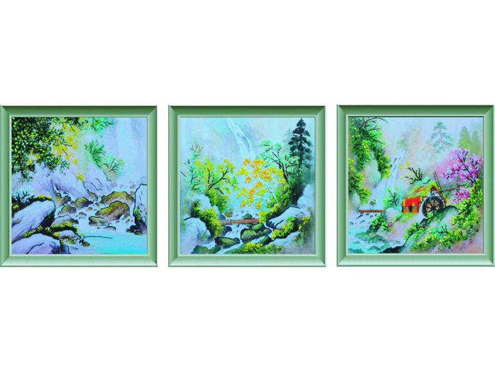 """Картина лентами «Горная река»Цветной<br>Уникальный набор вышивки лентами от производителя """"Цветной"""" - прекрасная возможность освоить новый вид творчества.<br><br>Вышивка лентами набирает популярность благодаря великолепному результату, объемные картины из атласных лент и органзы может вышить каждый, ...<br><br>Артикул: C-0117<br>Сложность: средние<br>Размер: 50x150 см<br>Техника вышивки: ленты<br>Заполнение: Частичное<br>Техника: Вышивка лентами"""