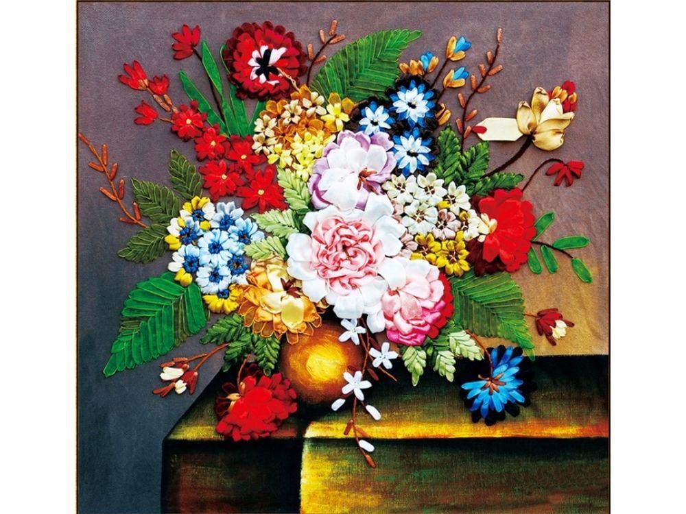 """Вышивка лентами «Цветочный этюд»Цветной<br>Уникальный набор вышивки лентами от производителя """"Цветной"""" - прекрасная возможность освоить новый вид творчества.<br><br>Вышивка лентами набирает популярность благодаря великолепному результату, объемные картины из атласных лент и органзы может вышить каждый, ...<br><br>Артикул: C-0121<br>Сложность: средние<br>Размер: 55x55 см<br>Техника вышивки: ленты<br>Заполнение: Частичное<br>Техника: Вышивка лентами"""