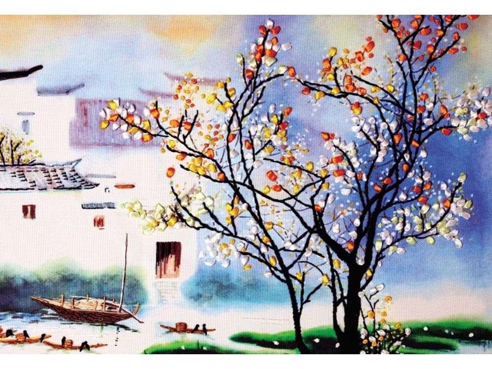 """Вышивка лентами «Чудное царство»Цветной<br>Уникальный набор вышивки лентами от производителя """"Цветной"""" - прекрасная возможность освоить новый вид творчества.<br><br>Вышивка лентами набирает популярность благодаря великолепному результату, объемные картины из атласных лент и органзы может вышить каждый, ...<br><br>Артикул: C-0148<br>Сложность: средние<br>Размер: 45x60 см<br>Техника вышивки: ленты<br>Заполнение: Частичное<br>Техника: Вышивка лентами"""