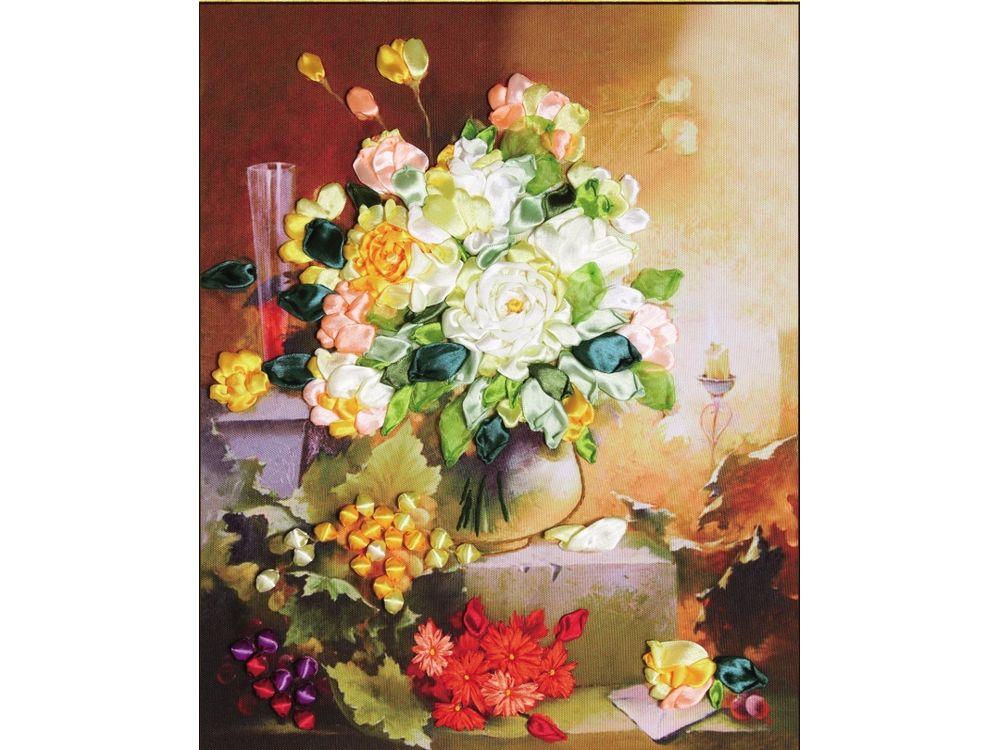 """Картина лентами «Цветы и свечка»Цветной<br>Уникальный набор вышивки лентами от производителя """"Цветной"""" - прекрасная возможность освоить новый вид творчества.<br><br>Вышивка лентами набирает популярность благодаря великолепному результату, объемные картины из атласных лент и органзы может вышить каждый, ...<br><br>Артикул: C-0163<br>Сложность: средние<br>Размер: 45x55 см<br>Техника вышивки: ленты<br>Заполнение: Частичное<br>Техника: Вышивка лентами"""