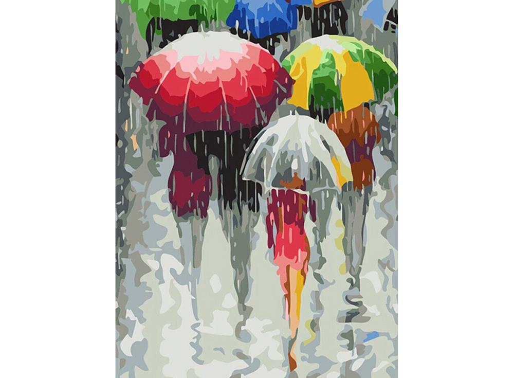 Картина по номерам «Романтические зонтики» Станислава СидороваРаскраски по номерам Color Kit<br><br><br>Артикул: ce227<br>Основа: Холст<br>Сложность: средние<br>Размер: 30x40 см<br>Количество цветов: 28<br>Техника рисования: Без смешивания красок