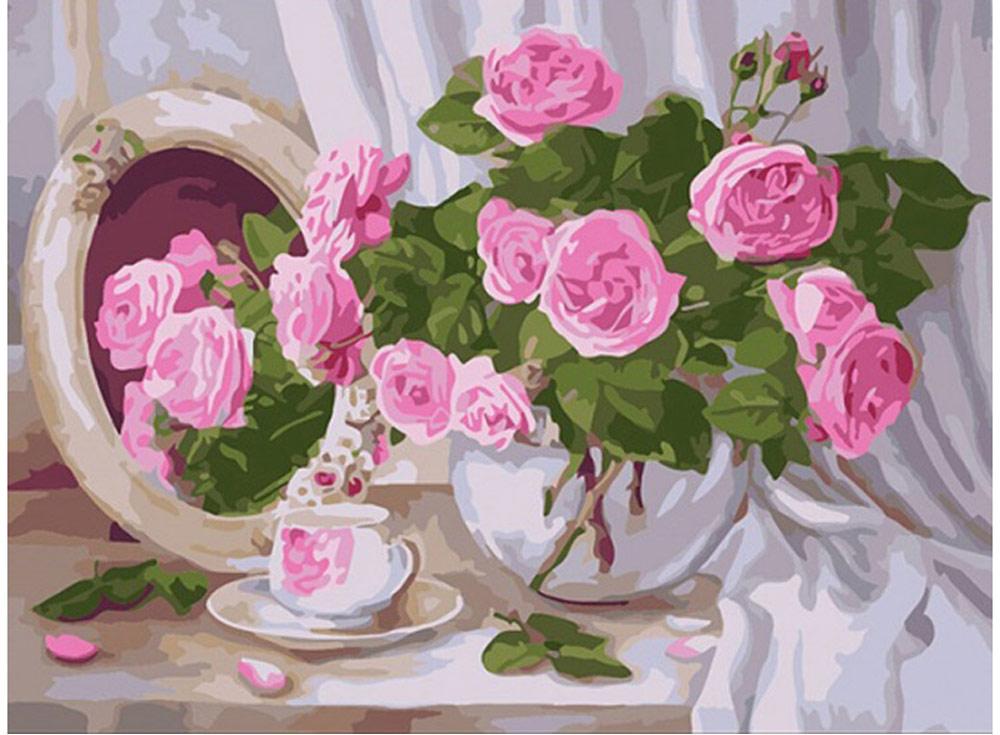 «Розы с зеркалом» Наталии КулдашевойРаскраски по номерам Color Kit<br><br><br>Артикул: CE232<br>Основа: Холст<br>Сложность: средние<br>Размер: 30x40 см<br>Количество цветов: 30<br>Техника рисования: Без смешивания красок