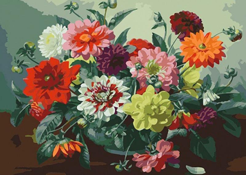 «Натюрморт с георгинами» Альберта УильямсаРаскраски по номерам Color Kit<br><br><br>Артикул: CE242<br>Основа: Холст<br>Сложность: средние<br>Размер: 30x40 см<br>Количество цветов: 32<br>Техника рисования: Без смешивания красок