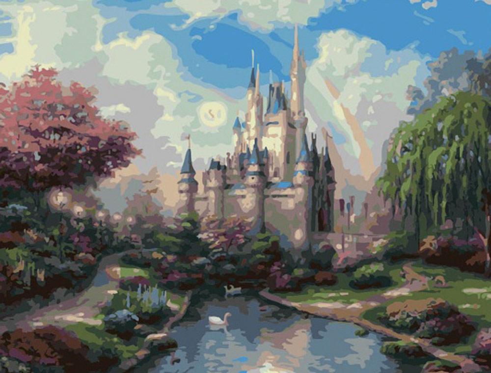 «Замок» Томаса КинкейдаРаскраски по номерам Color Kit<br><br><br>Артикул: CG400<br>Основа: Холст<br>Сложность: средние<br>Размер: 40x50 см<br>Количество цветов: 33<br>Техника рисования: Без смешивания красок