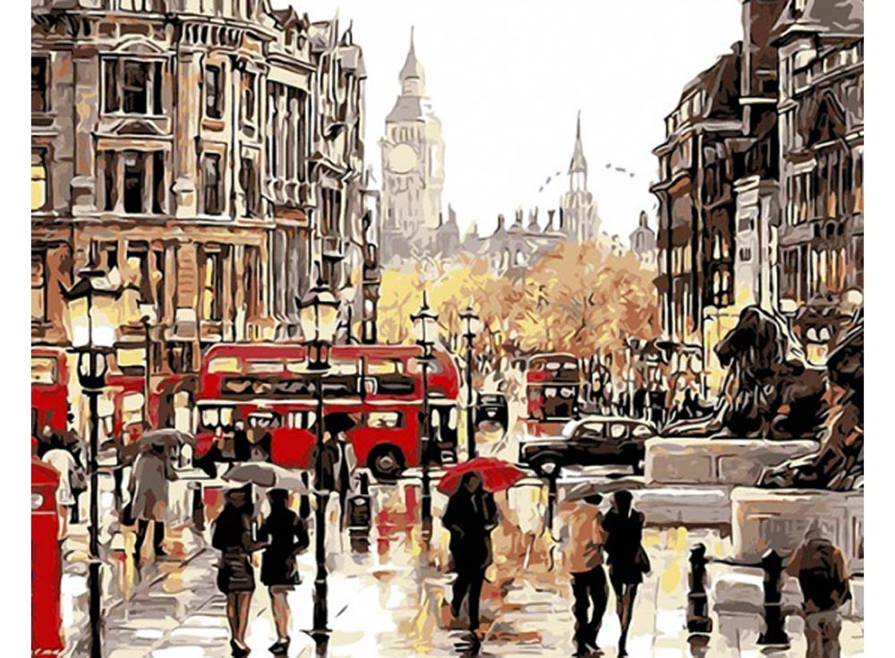 «Осень в городе» Ричарда МакнейлаРаскраски по номерам Color Kit<br><br><br>Артикул: CG405<br>Основа: Холст<br>Сложность: средние<br>Размер: 40x50 см<br>Количество цветов: 38<br>Техника рисования: Без смешивания красок