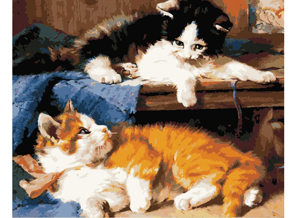 Картина по номерам «Котята»Раскраски по номерам Color Kit<br><br><br>Артикул: CG411<br>Основа: Холст<br>Сложность: средние<br>Размер: 40x50 см<br>Количество цветов: 25<br>Техника рисования: Без смешивания красок