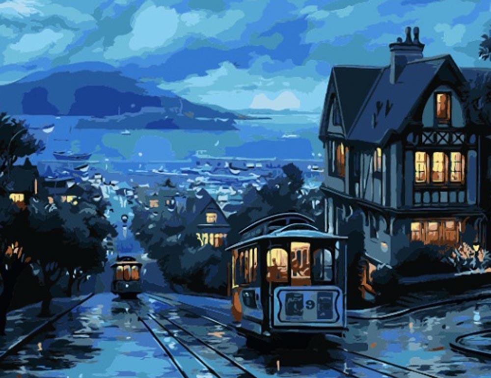 «Ночной трамвай» Евгения ЛушпинаРаскраски по номерам Color Kit<br><br><br>Артикул: CG416<br>Основа: Холст<br>Сложность: средние<br>Размер: 40x50 см<br>Количество цветов: 35<br>Техника рисования: Без смешивания красок