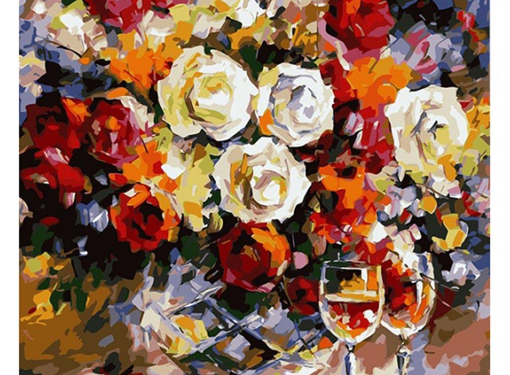 Картина по номерам «Розы и вино» Леонида АфремоваРаскраски по номерам Color Kit<br><br><br>Артикул: CG646<br>Основа: Холст<br>Сложность: средние<br>Размер: 40x50 см<br>Количество цветов: 25<br>Техника рисования: Без смешивания красок