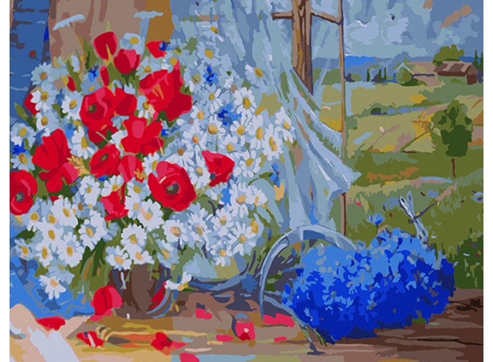 Картина по номерам «Полевые цветы» Елены АндрущенкоРаскраски по номерам Color Kit<br><br><br>Артикул: CG654<br>Основа: Холст<br>Сложность: средние<br>Размер: 40x50 см<br>Количество цветов: 25<br>Техника рисования: Без смешивания красок