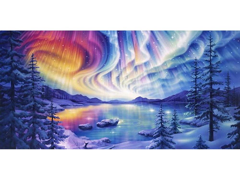 Стразы «Волшебное озеро» Кирка РейнертаЯркие Грани<br><br><br>Артикул: DS125<br>Основа: Холст без подрамника<br>Сложность: очень сложные<br>Размер: 100x50<br>Выкладка: Полная<br>Количество цветов: 55<br>Тип страз: Квадратные