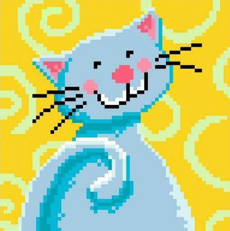 Стразы «Весёлый котик в голубом»Яркие Грани<br><br><br>Артикул: DS233<br>Основа: Холст без подрамника<br>Сложность: средние<br>Размер: 16x16<br>Выкладка: Полная<br>Количество цветов: 10<br>Тип страз: Квадратные
