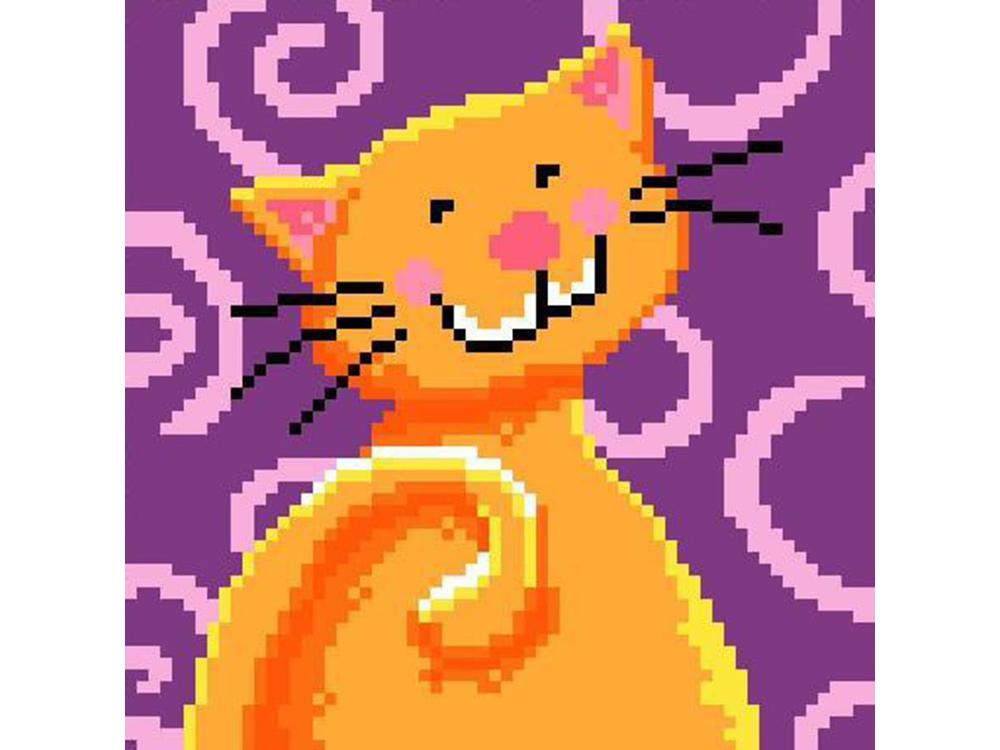 Стразы «Веселый котик в оранжевом»Яркие Грани<br><br><br>Артикул: DS234<br>Основа: Холст без подрамника<br>Сложность: средние<br>Размер: 16x16<br>Выкладка: Полная<br>Количество цветов: 10<br>Тип страз: Квадратные