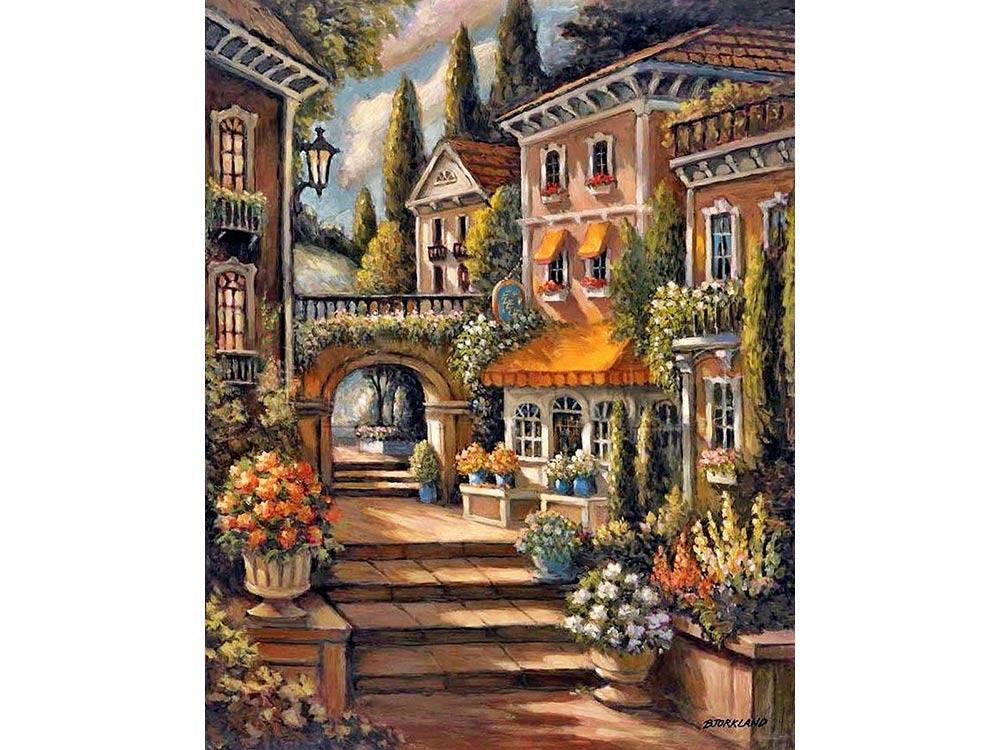 Стразы «Цветочный переулок» Джорджа БьорклэндаЯркие Грани<br><br><br>Артикул: DS514<br>Основа: Холст без подрамника<br>Сложность: средние<br>Размер: 50x65 см<br>Выкладка: Полная<br>Количество цветов: 58<br>Тип страз: Квадратные