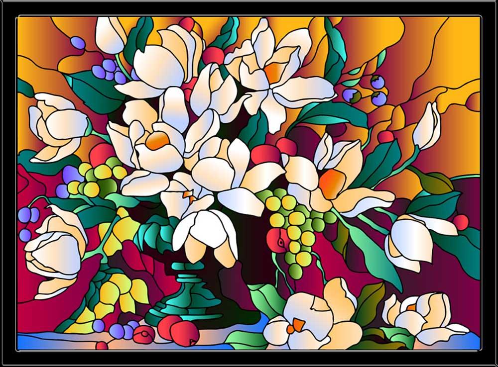 Витраж-раскраска «Букет магнолий»Color KIT<br>Витраж-раскраска – новый вид раскрасок для взрослых. В комплектации набора предусмотрено все, что может понадобиться при создании уникального произведения искусства.<br> Основа этой раскраски – стекло, обрамленное в багетную раму. Расписывать витраж достато...<br><br>Артикул: HG010<br>Основа: стекло в багетной раме<br>Размер: 43x53 см<br>Количество цветов: 12
